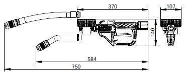 NEXT/2 пистолет раздаточный со счетчиком масла, размеры.