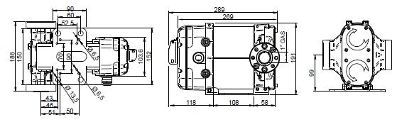 Электронасос для дизтоплива PIUSI BIPUMP 12, 24 размеры.