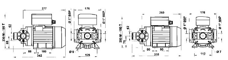 Электронасос PIUSI E80, E120 размеры.