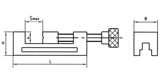 Тиски станочные, POZOS, тип 3320, схема с размерами.