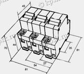 Габаритные размеры автоматического выключателя ВА47-100