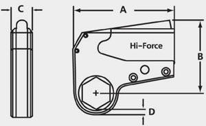 Чертеж гидравлического касетного ключа HI-FORCE