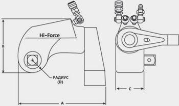 Чертеж гидравлического ключа под головку HI-FORCE