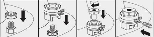 Для достижения хорошего равномерного сжатия фланца используется мостовое включение нескольких шпильконатяжителей
