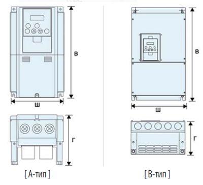 Габаритные размеры векторного инвертора Hyundai N300 (A-тип и B-тип)